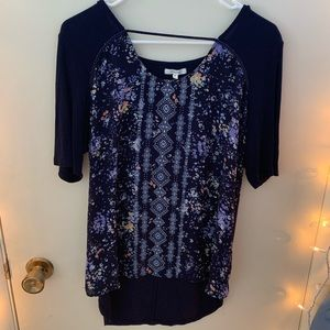Maurices Floral Print Mesh Blouse